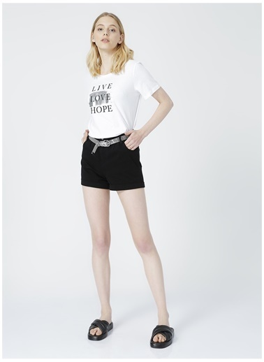 Limon Company Limon Kadın Ekru Bisiklet Yaka T-Shirt Ekru